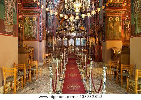 HERAKLION CRETE-JULY 25: Interior of the Monastery of Panagia Kalyviani on July 25 in Heraklion on Crete Greece. The Monastery of Panagia Kalyviani is located 60km south of Heraklion.