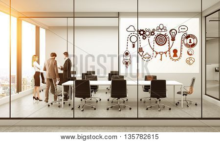 Startup concept with sketch on whiteboard hanging in conference room with discussing business people New York city view and sunlight. 3D Rendering