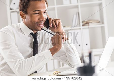 Handsome Black Man In Office