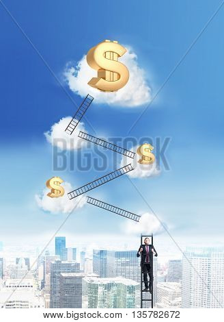 Success and financial growth concept with businessman climbing ladders to the cloud top with golden dollar signs on New York city background