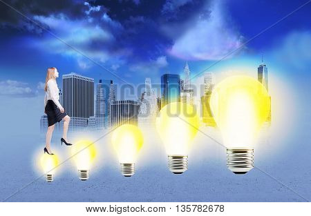 Idea concept with businesswoman climbing abstract illuminated light bulb ladder on city background