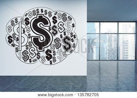 Financial growth concept with dollar sign sketch on office wall with Singapore city view. 3D Rendering