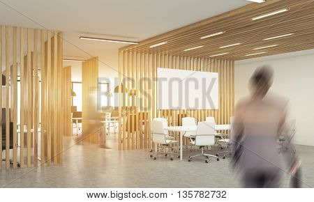 Blurry businesspeople in open office interior with wooden partitionssunlight and meeting area with blank whiteboard. Side view. Mock up 3D Rendering