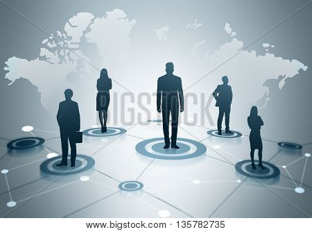 Global social networking concept with map abstract network and businesspeople silhouettes on light grey background