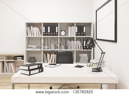 Creative modern office interior with workplace bookshelf and blank picture frame. Mock up 3D Rendering