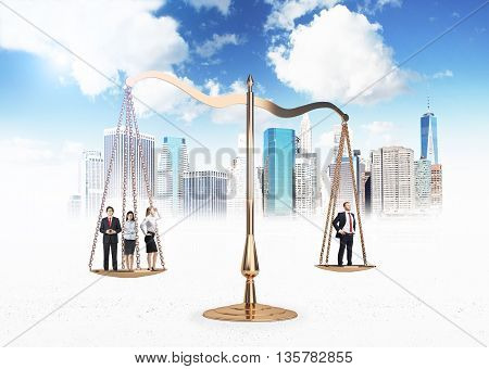 Scales of justice with businesspeople on New York city and sky background