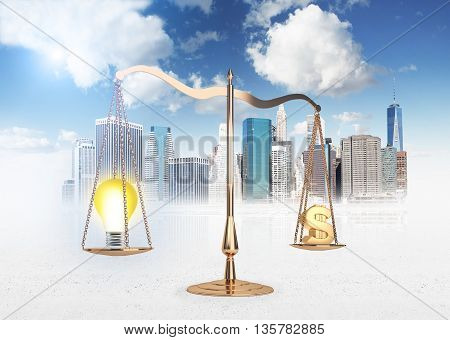 Scales of justice with lightbulb and dollar sign on New York city background. Business idea equals money