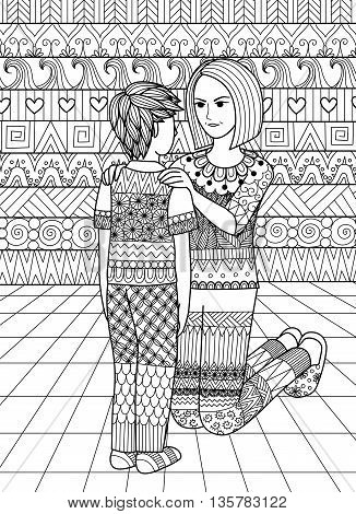 Clean lines doodle design of mom saying no to her son, design for adult coloring book