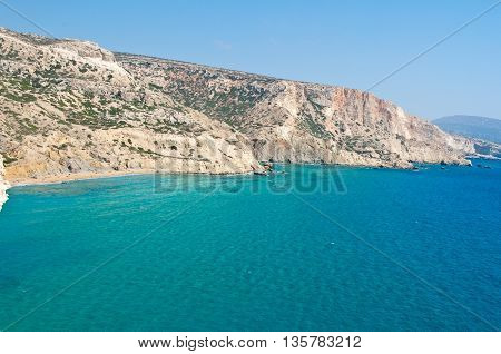 Libyan sea and the red beach near Matala beach on the Crete island Greece.