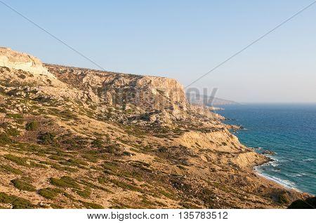 Libyan sea and mountain landscape near Matala beach on the Crete island Greece.