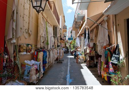 RETHYMNON CRETE-JULY 23: Shopping street on July 23 2014 in Rethymnon city on the island of Crete Greece.