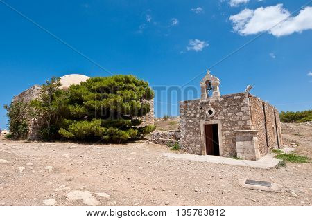 Church of Agia Ekaterini on the top of the Fortezza Crete. Greece.