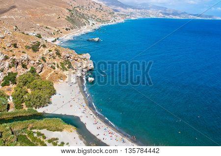 Preveli beach on the island of Crete in Greece.