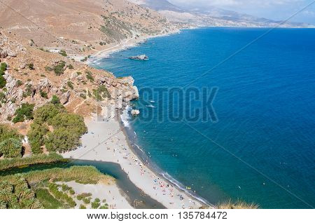 Preveli beach below the monastery. Crete Greece.