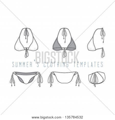 Vector illustration of women s clothing set. Blank vector templates of swimwear in front, back, side views. Fashion design in beach style. Isolated on white background. Female bikini set.