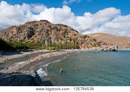 CRETEGREECE-JULY 23: Idyllic Preveli Beach on July 232014 on Crete Greece. The beach of Preveli is situated 40 km south of the main town and is the most idyllic beach in Crete.