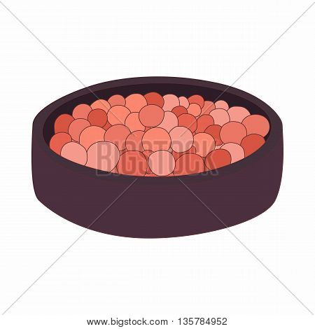 Rouge balls in a red box icon in cartoon style on a white background