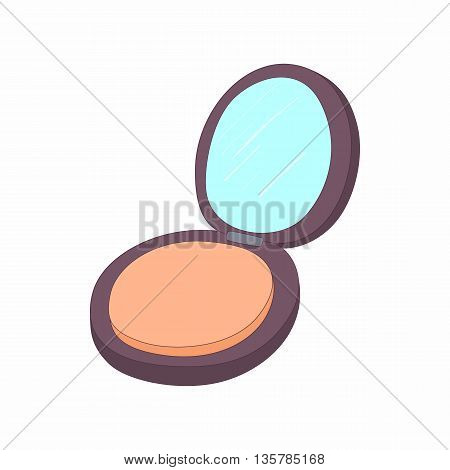 Makeup powder in black case icon in cartoon style on a white background