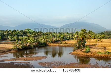 Travel India Kerala concept background - view from train. Kerala, India