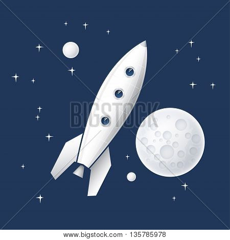 Space rocket flying in space with planets and stars and the moon