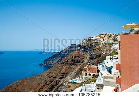 View of Fira on the edge of the caldera. Santorini Greece.