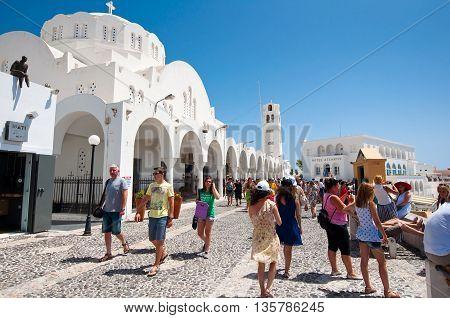 SANTORINIFIRA-JULY 28: Fira cathedral on July 282014 in Fira town on Santorini Greece. Fira is the modern capital of the Greek Aegean island Santorini.