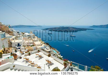 Detail of Fira cityscape on the island of Thera(Santorini) Greece.