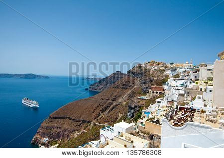 Panoramic view of Fira on the island of Thera(Santorini) Greece.