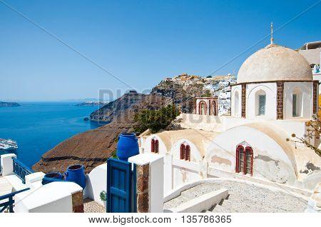 Fira Orthodox church on the island of Thera (Santorini) Greece.