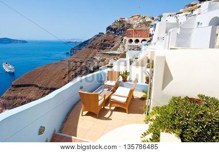 Cosy patio in Fira on the island of Thera(Santorini) Greece.