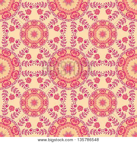 Seamless pattern. Decorative pattern in pink colors. Vector background