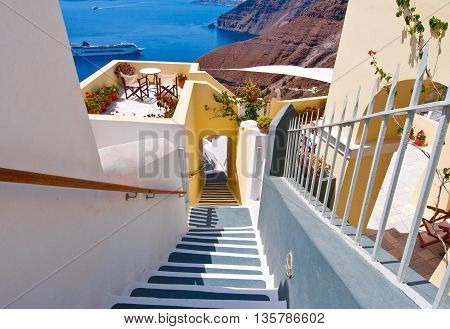 The stairs leading to the port in Fira town on the island of Santorini Greece.