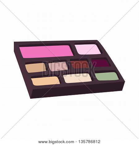 Makeup palette icon in cartoon style on a white background