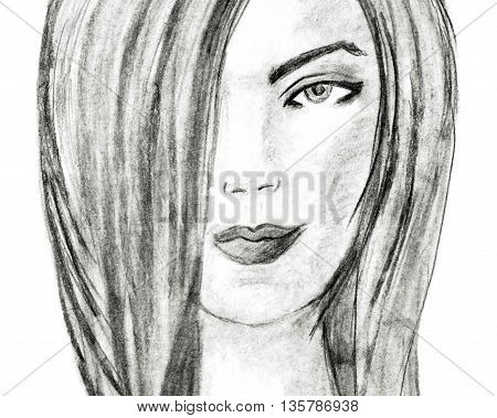 Beautiful young woman, charcoal drawing. Fashion illustration. Charcoal Sketch on white background