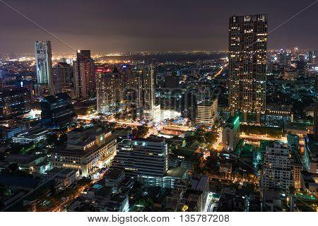 Aerial view of Bangkok city at night. Modern megalopolis cityscape at night