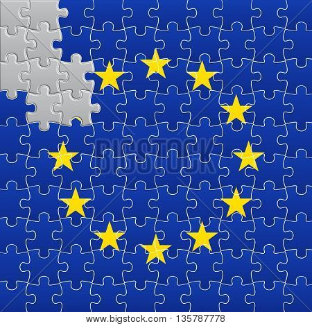 Vector illustration of European Union flag divided on jigsaw puzzle pieces with one star muted gray symbolizing BREXIT EPS 10