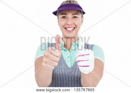 Pretty blonde showing thumbs up on white background