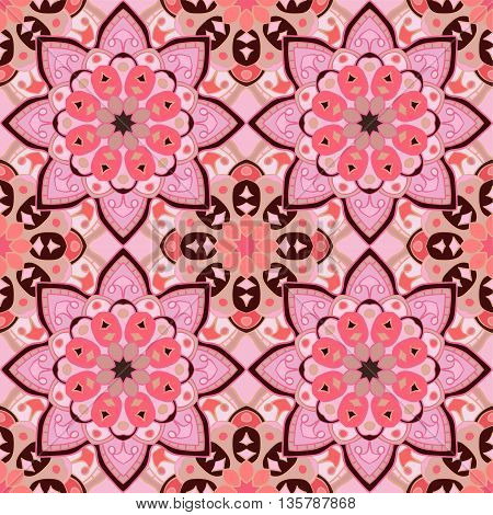 Floral seamless pattern in beautiful colors of strawberry and chocolate. Vector illustration