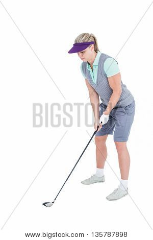 Pretty blonde playing golf on white background