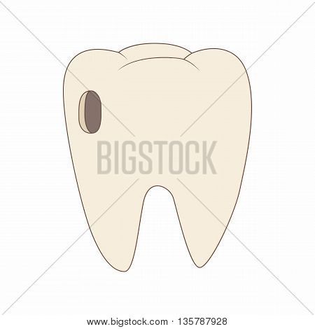 Tooth with caries icon in cartoon style on a white background