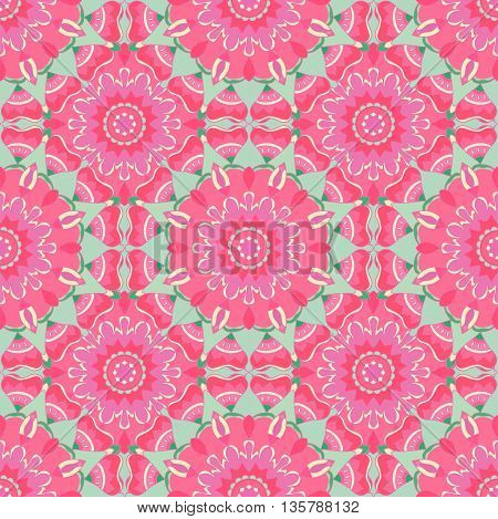 Abstract floral seamless pattern in beautiful pink and mint colors. Vector illustration