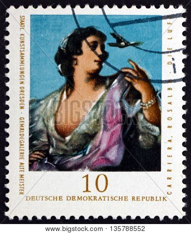 GERMANY - CIRCA 1976: a stamp printed in Germany shows Air Painting by Rosalba Carriera Venetian Rococo Painter circa 1976