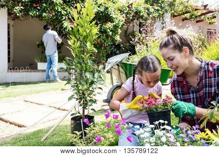 Mother and daughter gardening together in garden on a sunny day