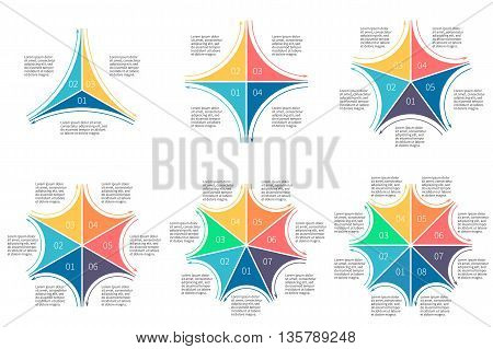 Linear infographics set. Diagrams with 3 4 5 6 7 8 steps. Vector templates.
