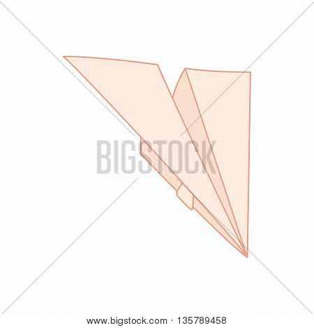 Paper plane icon in cartoon style isolated on white background. Paper products symbol
