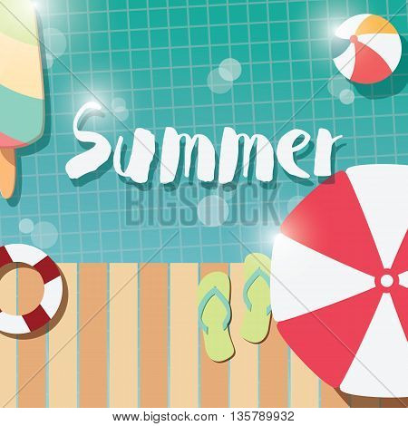Modern typographic summer poster design with ice cream swimming pool and geometric elements vector illustration