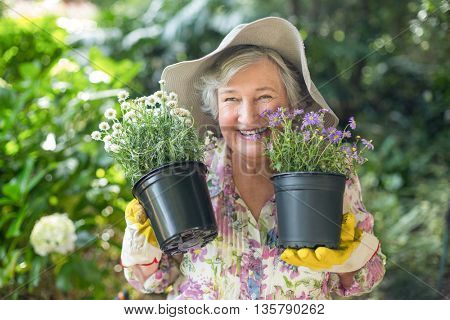 Cheerful senior woman holding potted plants in garden