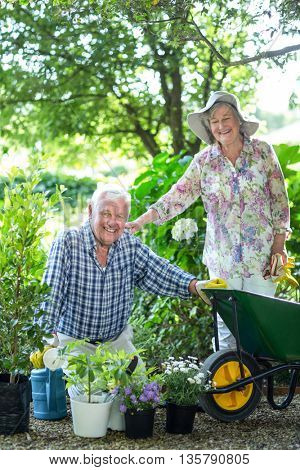Happy senior woman standing by husband with potted plants in garden