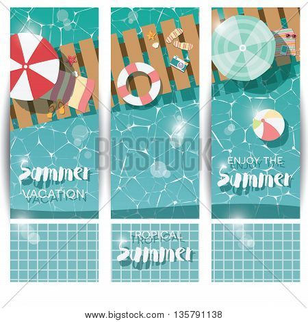 Three vertical banners with swimming pool top view tropical summer time holiday vacation vector illustration