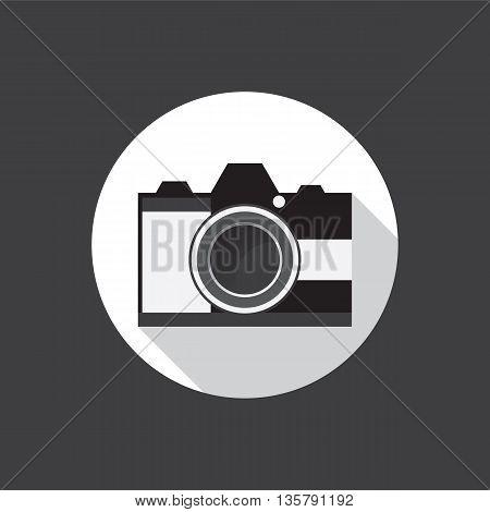 Camera flat icon on black background. Vector illustration.